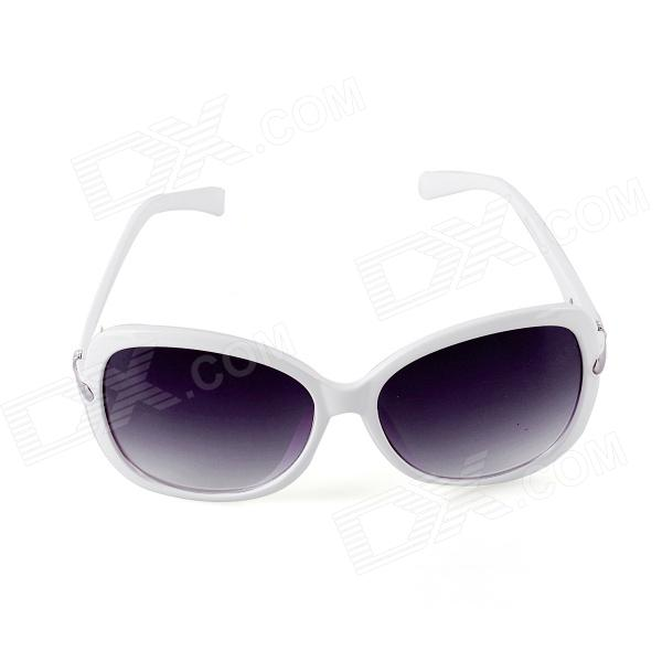 SYS0047 Women's PC Frame Resin Lens UV400 Protection Sunglasses - White clip on uv400 protection resin lens attachment sunglasses small