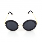 SYS0050 Women's Fashion Zinc Alloy Round Frame Resin Lens UV400 Sunglasses - Black + Golden