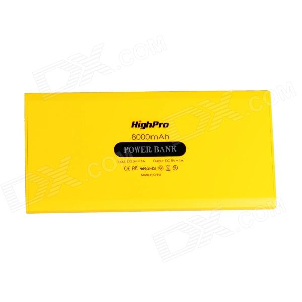 HighPro 8000mAh USB External Power Battery Mobile Power Bank w/ USB Cable - Yellow - DXMobile Power<br>Color Yellow Brand HighPro Model PB8000_y Quantity 1 Set Material Plastic Shade Of Color Yellow Compatible Models IPHONE 5SIPHONE 5CIPHONE 5IPHONE 4IPHONE 4SIPHONE 3gsIPHONE 3gIPAD airIPAD MINI 2(IPAD MINI WITH RETINA DISPLAY)IPAD MINI (1ST GENERATION)IPAD 4THE NEW IPAD(IPAD 3)IPAD 2IPAD 1IPOD TOUCH 5IPOD TOUCH 4IPOD TOUCH 3IPOD TOUCH 2IPOD TOUCH 1IPOD NANO 7IPOD NANO 6IPOD NANO 5IPOD SHUFFLE 4IPOD SHUFFLE 3IPOD SHUFFLE 2IPOD SHUFFLE 1IPOD CLASSIC Compatible Type Universal Battery Type Li-polymer battery Voltage 5 V Capacity Range 8001mAh~9000mAh Nominal Capacity 8000 mAh Battery Actual Capacity 8000 mAh Input 5V Output 5V Charging Time 6~9 Hour Features LED Indicator Other Features LED Indicator Packing List 1 x Power bank 1 x Charging cable (20cm) 1 x English/Chinese User Manual<br>