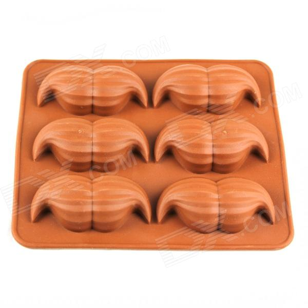 6-Compartment Beard Shaped Silicone Ice Lattice Mold - Brown