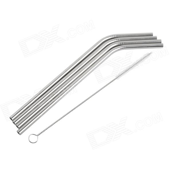 Stainless Steel Drinking Straws w/ Cleaning Brush - Silver (4 PCS) rimei 3013 handy durable stainless steel nailclippers w grinding pad silver
