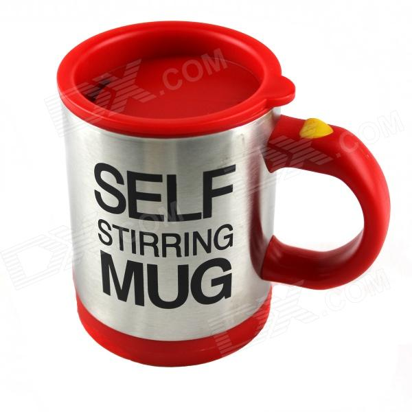 Creative Auto Stirring Mug - Silver + Red (2 x AAA / 350ML)Cups &amp; Bottles<br>Form ColorSilver + RedMaterialPlastic + stainless steelQuantity1 DX.PCM.Model.AttributeModel.UnitCapacity350mlDiameter9 DX.PCM.Model.AttributeModel.UnitHeight11 DX.PCM.Model.AttributeModel.UnitOther FeaturesPowered by 2 x AAA batteries (not included); Press the button on the handle position, the middle of the cup will spin up, very easy to usePacking List1 x Self-stirring mug<br>