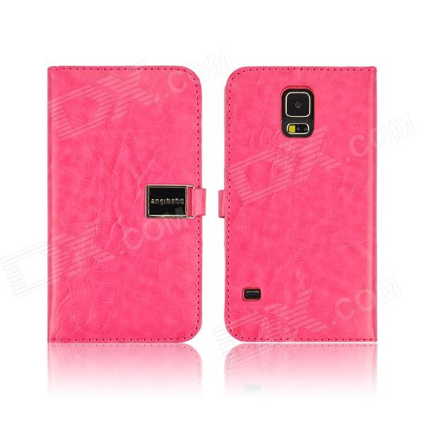 Angibabe PU Leather Case with Card Slots for Samsung Galaxy S5 - Deep Pink litchi grain leather case with card slots for iphone 7 plus 5 5 inch pink
