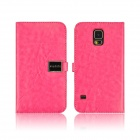 Angibabe PU Leather Case with Card Slots for Samsung Galaxy S5 - Deep Pink
