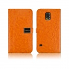 Angibabe PU Leather Case with Card Slots for Samsung Galaxy S5 - Orange