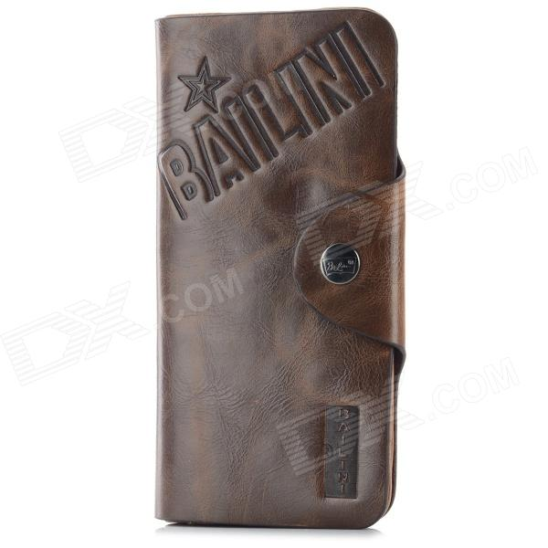 Men's Casual Split Leather Long Wallet - Coffee