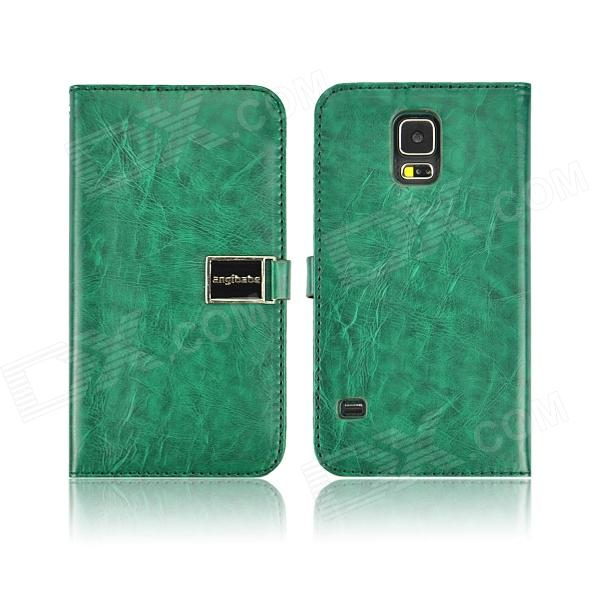 Angibabe PU Leather Case with Card Slots for Samsung Galaxy S5 - Dark Green