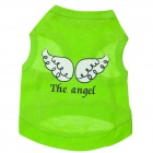 LB-B001 Angel Wings Patterned Cotton Vest for Pet Cat / Dog - Light Green (Size S)