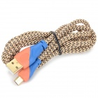 A-003 USB Male to Micro USB Male Data Cable - Orange + Blue + Multi-Color (140cm)