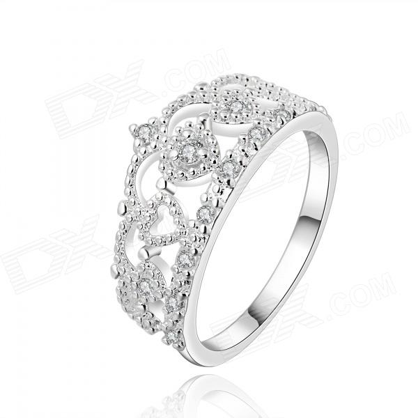 Women's Crown Shaped Rhinestone Inlaid Ring - Silver (U.S Size 8) women s elegant rhinestone inlaid ring silver u s size 8