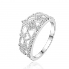 Women's Crown Shaped Rhinestone Inlaid Ring - Silver (U.S Size 8)