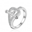 Women's Fashionable Heart Shaped Ring - Silver (U.S Size 8)