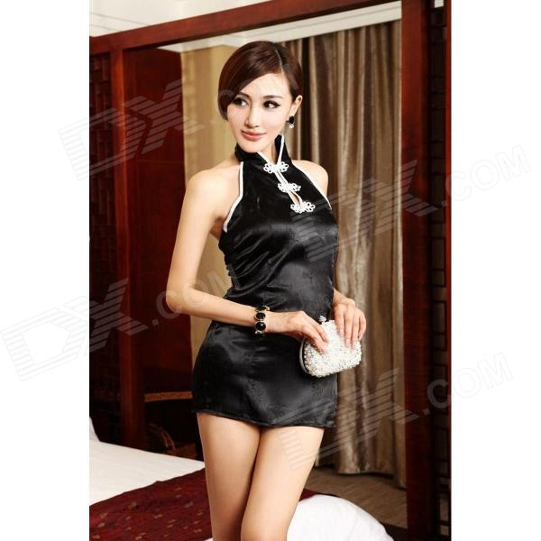 Sexy Cheongsam Style Backless Tapestry Satin Dress w/ T-Back - Black