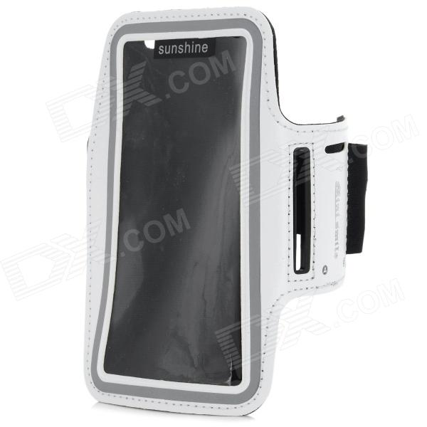 Protective Neoprene + PVC Sport Armband for Sony Xperia Z3 / L55T - White complete on the go smart kit comfy sport band workout armband adjustable neoprene velcro strap for sony ericsson spiro xperia neo v xperia play xperia ray x8 x10 x10 mini pro vivaz text pro mix walkman xperia play includes a retrac