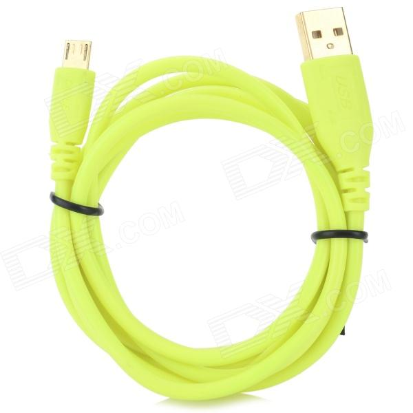A004 USB Male to Micro USB Male Data Cable for LG / HTC / Samsung - Fluorescent Yellow (140cm) usb 2 0 female to micro 5pin male nylon data cable for htc lg etc black yellow blue 100cm