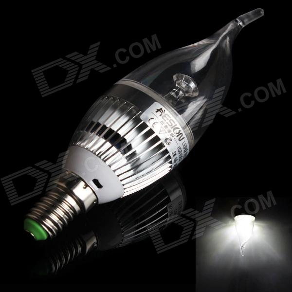 HESION HS01003C E14 3W 270lm 6000K 3-LED White Candle Bulb w/ Cree - Silver (AC 85~265V)