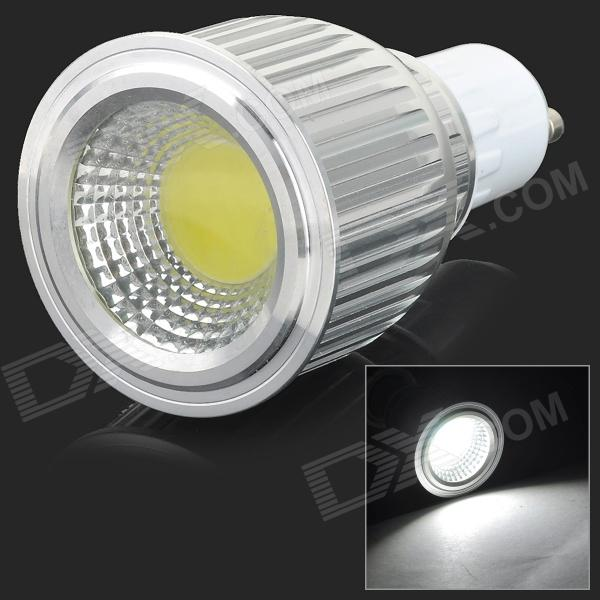 GU10 7W 650lm 6500K 1-COB LED White Light Spotlight - White + Silvery Grey (AC 85~265V)