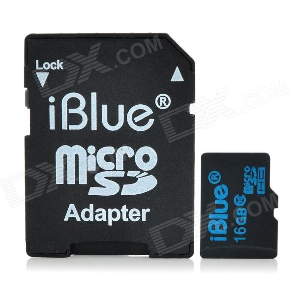 iblue TF Memory Card w/ SD Card Adapter - Black (16GB / Class 4)
