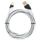 Gold Plating USB to Micro USB Data Cable for Samsung / HTC / LG - Black + White (150cm)