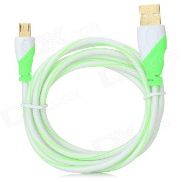 Gold Plating USB to Micro USB Data Cable for Samsung / HTC / LG - Green + White (150cm) 103b universal usb to micro usb data charging cable for samsung htc more deep pink 100cm