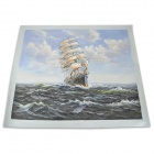 "S02 Hand-painted ""Sailing Boat"" Canvas Oil Painting - White (58 x 68cm)"