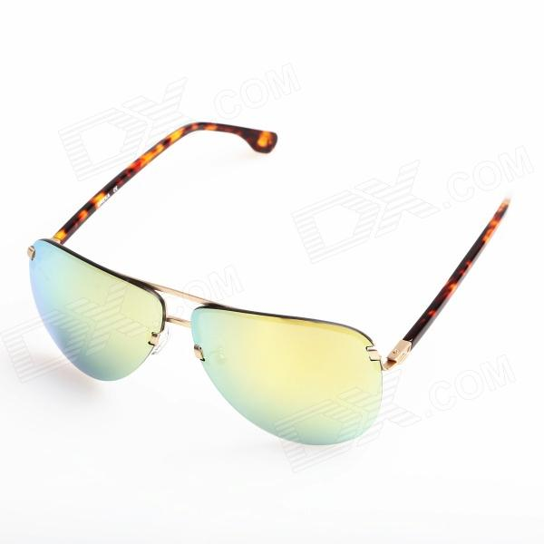 OREKA Fashion High Nickel Alloy Frame Resin Lens UV400 Protection Sunglasses - Light Golden frog mirror pc alloy full rim casual unisex classical sunglasses glasses coffee