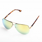OREKA Fashion High Nickel Alloy Frame Resin Lens UV400 Protection Sunglasses - Light Golden
