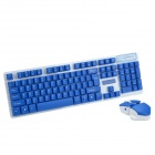 CHEERLINK HK-5200 4th Gen 2.4Ghz Super Slim 104-Key Wireless Keyboard w/ Touch Mouse - Blue