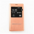 SXP005 PU Leather + PC Flip Open Case w/ Display Window for Samsung Galaxy S5 - Pink