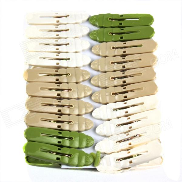 Beautiful Practical Plastic + Stainless Iron Clothespins - White + Light Green (20 PCS)
