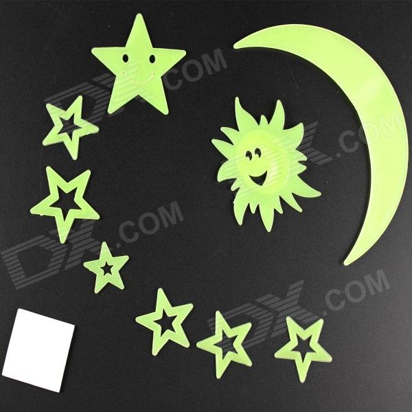 Moon Glow Style Decorative Stickers Pastes - Fluorescent Green (9 PCS)