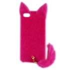 AL01 Cat Style PC + Plush Back Case w/ Tail for IPHONE 5 / 5S - Deep Pink