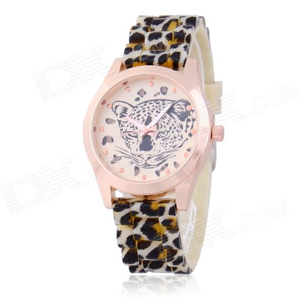 Women's Fashion Leopard Pattern Silicone Band Analog Quartz Wristwatch - Black + Yellow (1 x 377)