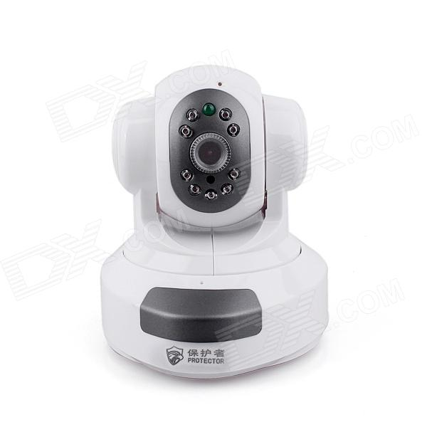 PROTECTOR 186 CMOS 1.0MP Surveillance IP Camera w/ 9-IR-LED / Wi-Fi / TF - White (US Plug) npc zb npc003 3 5 lcd 1 3 cmos ip network camera recorder w wi fi tf mic white black