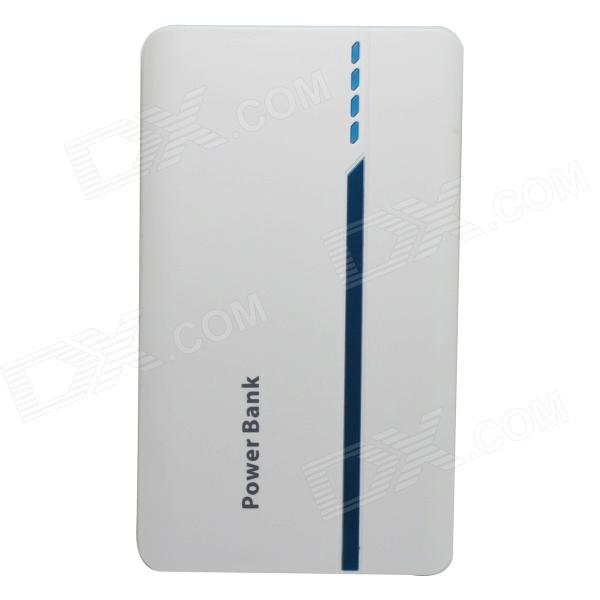 Portable Universal 15000mAh Li-ion Battery Dual USB Power Bank - White + Blue mp 4s universal portable 3500mah power bank 1w white light usb led lamp head blue
