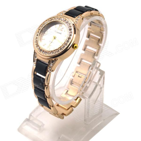 Women's Fashion Round Crystal Dial Analog Quartz Wrist Watch - Golden + Black (1 x LR626)