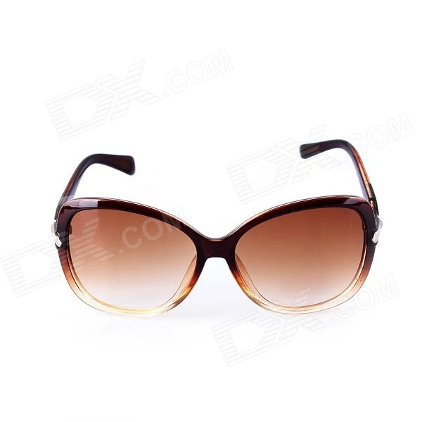 SYS0047 Women's PC Frame Resin Lens UV400 Protection Sunglasses - Brown clip on uv400 protection resin lens attachment sunglasses small