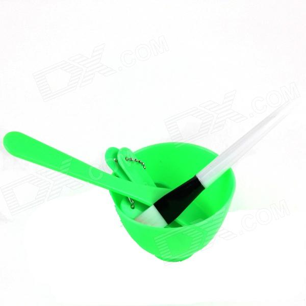 4-in-1 DIY Facial Mask Maker Set Mixing Bowl + Stick + Brush + Measuring Spoons - Green + White