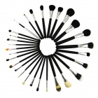 Professional Mink Makeup Brush Set / Beauty Brush - Black (29 PCS)