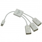 Micro USB Male to 3-Port USB 2.0 Female HUB - White