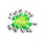 Fishing Rod Dual Alarm Bell + LED Light w/ Clip - Green + Silver (10PCS / 2 x LR41)