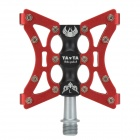 Tavta Lightweight Three Bearing Aluminum Alloy Bicycle Bike Pedals - Red + Black (2 PCS)