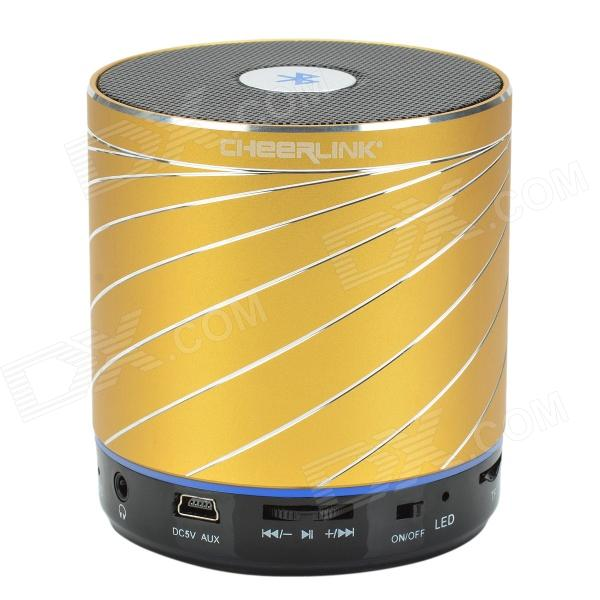 CHEERLINK SDH-801 HiFi Stereo Bluetooth V2.1 + EDR Speaker w/ Handsfree / FM / AUX / TF - Golden t050 3w mini portable retractable stereo speaker w tf black golden 16gb max