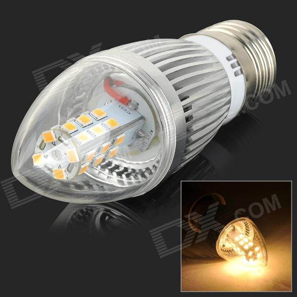 E27 5W 450lm 3000K 28-SMD 2835 LED Warm White Light Bulb - Silver + Transparent (100~250V)