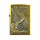 Retro Crocodile Relievo Kerosene Lighter - Brass