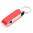 Ourspop U611 Stylish PU Leather Cover USB 2.0 Flash Drive w/ Keychain - Red + White (64GB)