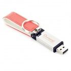 Ourspop U611 Elegante PU capa de couro USB 2.0 Flash Drive w / Chaveiro - Red + White (64GB)