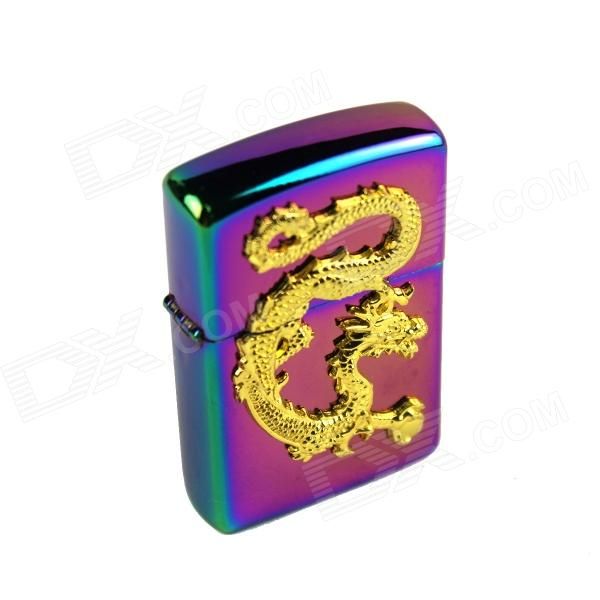 Colorful Chinese Dragon Relievo Kerosene Lighter - Purple + Golden