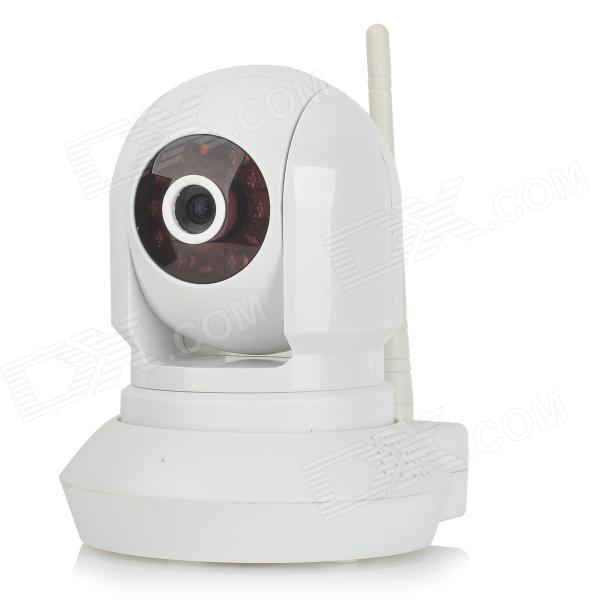 NTD-AP002 1/4 CMOS 1.0MP Wireless IP Camera w/ 11-IR-LED / Wi-Fi / IR-CUT - Black + White (US Plug) wanscam jw0004 1 4 cmos 0 3mp wireless p2p indoor ip camera w 13 ir led wi fi white uk plug