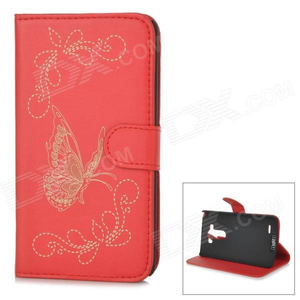 IKKI Butterfly Patterned Protective Flip Open PU Case w/ Stand + Card Slot for LG G3 / D855 - Red newsets mercury flash powder tpu protector case for iphone 7 4 7 inch baby blue